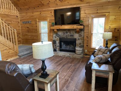 Photo for New! Bear Ridge Smart Cabin with loft and private Hot Tub, King Bed.  Sleeps 9.