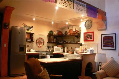 Fully equipped new kitchen with gas range and hand painted Mexican Colonial tile