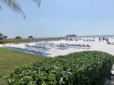 Our spacious, private beach/Chairs/loungers for your use. 2 small Pavillions.