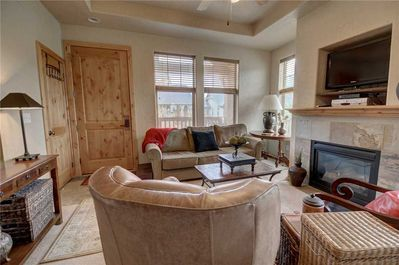 Living Room with Sleeper Sofa, Gas Fireplace and TV