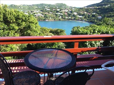Deck overlooks Tropical Garden and Marigot Bay.  BEAUTIFUL VIEW
