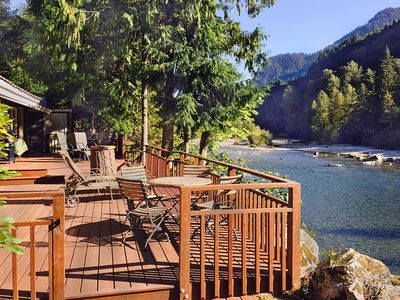 Photo for Amazing Riverfront Ranch w Hot Tub, WiFi, Cable, Guesthouse, Huge Deck, Perfect for Groups!