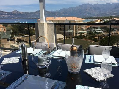 Photo for Superb luxury apartment sea and mountain views 100 m from the beach