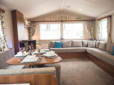 Photo for New luxury static caravan at Landscove Holiday Park Brixham, large outside deck, private parking, wi
