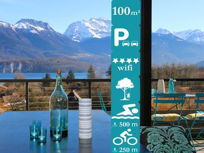 Photo for 4 Stars,  Design,  Quiet, 100m2  Penthouse, Lake View Annecy,  Parking, Alpes