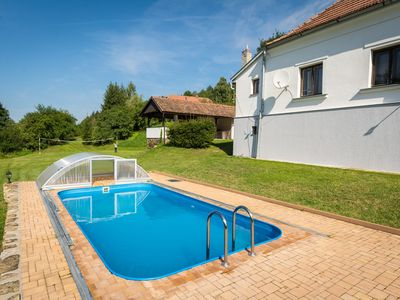 Photo for Holiday house with outdoor swimming pool and garden fireplace