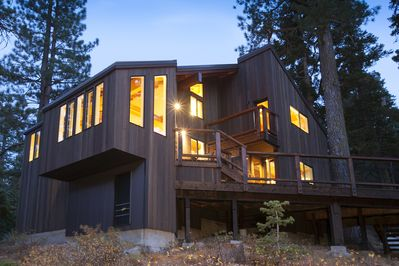 Exterior Back View - This newly remodeled home is beautifully crafted with european modern and contemporary  flair, sleek and plush furnishings, a well appointed/equipped kitchen, spacious back deck with dry Sauna and breathtaking views of the Sierra mountains from just about any room in the home.