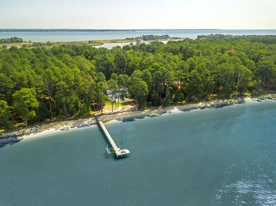 Island estate with private 600ft beach & private pier, nestled on 7 wooded acres