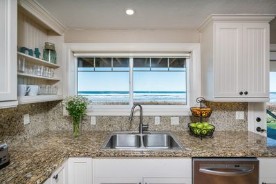 Doing dishes isn't half bad from this ocean-facing kitchen!