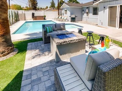 Photo for CHIC OUTDOOR LIVING HOT TUB + FIRE PIT- SLEEPS 14!