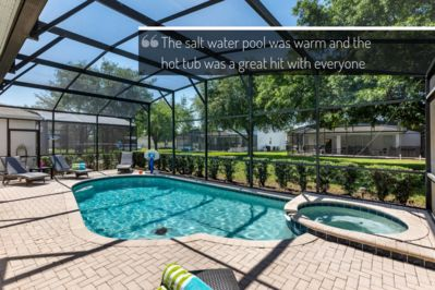 Private screened in, heated salt water pool and spa with oversized pool deck
