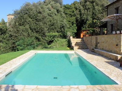 Photo for Independent renovated stone house with private pool in small hill-top village