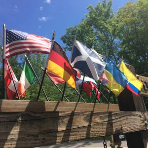 FLAGS OF OUR INTERNATIONAL GUESTS .  31 COUNTRIES AND COUNTING