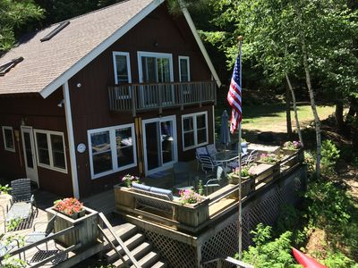"Photo for Rust Pond, Wolfeboro NH, Beautiful, Quiet Lakefront Chalet,  ""Campbellot"""