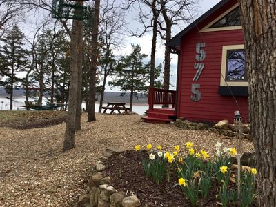 Picnic area, flower beds in spring