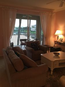Living Room with View to Lanai and Lake