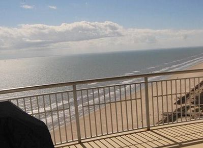 Panoramic view from main balcony. Lg electric BBQ, table for 6 & 2 club chairs
