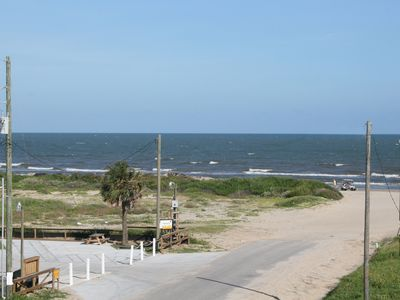 View of the beach from main level deck