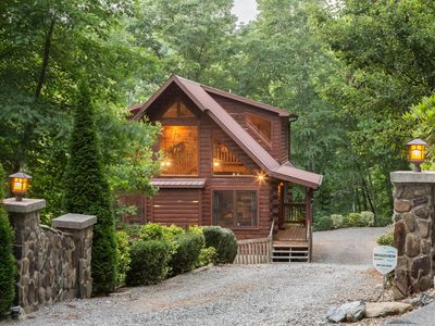 Photo for Modern log cabin with huge deck - hot tub & mountain views!