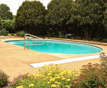 Photo for Summer getaway near the lake with private pool, forest, fire pit, biking & more