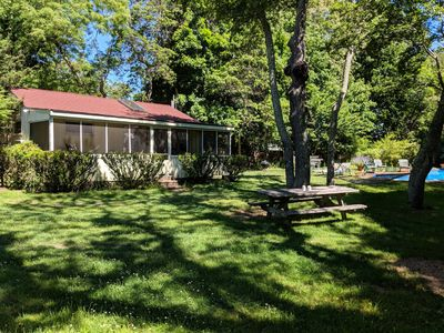 Photo for Secluded Sag Harbor Cottage with a Big Pool w/ Diving Board + Slide, Big Yard!