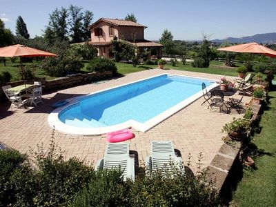 Photo for Beautiful villa with far-reaching views, pool and garden in Rieti hills, nr Rome