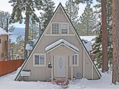 Photo for Cozy Classic A Frame Tahoe Cabin Sunny Deck with Views of Lake Tahoe