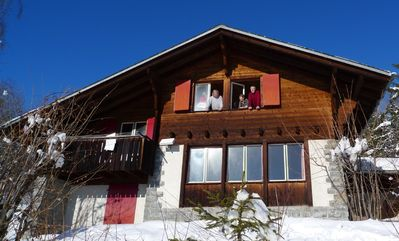 Photo for Fantastic view, tranquillity and lots of space- very close to Crans-Montana