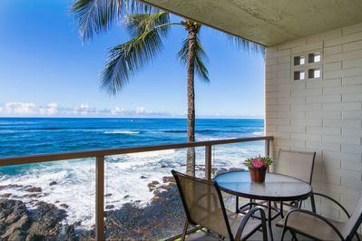 Kuhio Shores 315 is as close to the ocean as you can get in Poipu