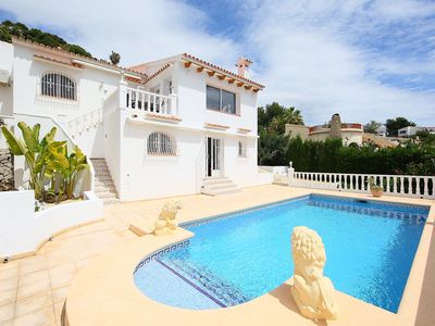 Photo for Stunning private villa for 6 guests with hot tub, A/C, WIFI, private pool, TV and parking