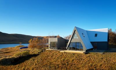 This is the main building at Eirð, the renovated old A-frame and the new annex.