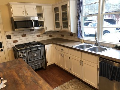 updated kitchen...note old stove with gas cooktop