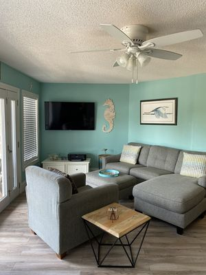 """Living area with 55"""" Smart Samsung HDTV Jun 2020 and new furniture 2019"""