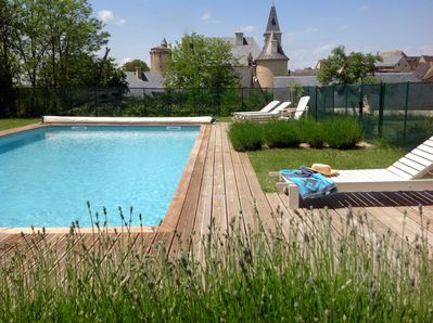 Pool with a view of the Chateau of Bournazel