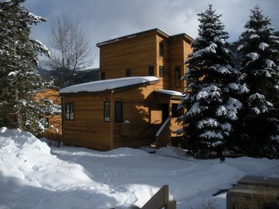Winter in Keystone, steps to parking and shuttle to the slopes!