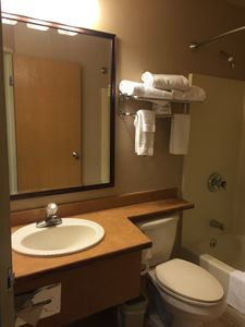 Two Full Bathrooms with Hair Dryers
