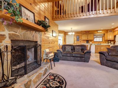 Photo for Woodsy cabin w/ private hot tub, wood fireplace & air hockey table!