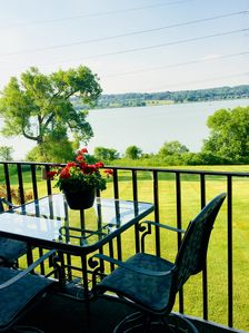 Enjoy lunch out on the balcony with lovely water views!