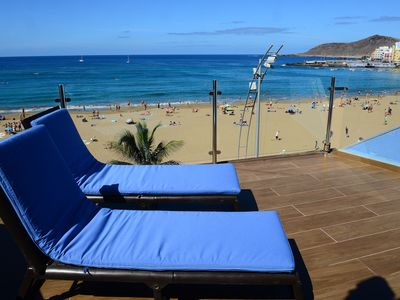 Photo for The best offer facing the sea, front line beach, large terrace, ideal couples