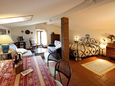 Photo for Studio with private balcony, great views, wifi, shared pool, close to village