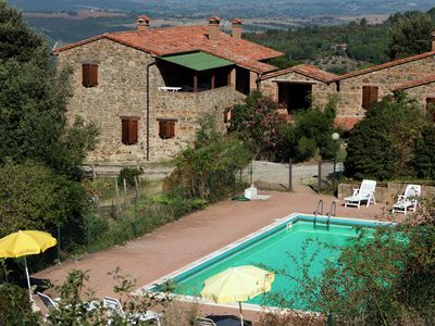 Photo for A farmhouse complex with swimming pool on the border of Umbria and Tuscany