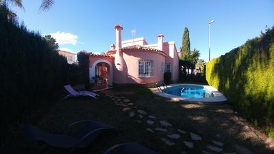 Photo for Villa with pool and garden 8/9 Oliva Nova Golf WIFI