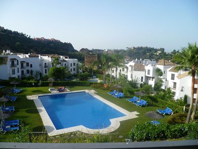 Photo for Frontline Golf Apartment In Los Arqueros Golf  & Country Club, Near Marbella