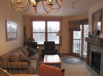 Cozy living room with gas fireplace, pull out sleeper too!
