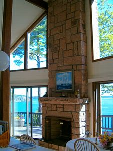 Great Room with adjoining Kitchen & Soaring 'Bar Harbor Pink Granite' Fireplaces