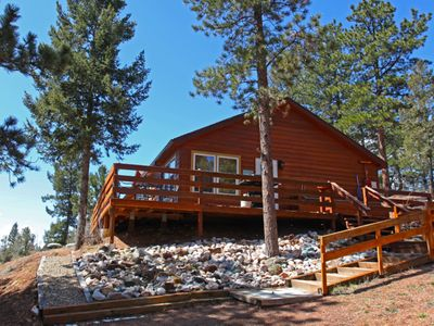 Photo for The Boulders - Cozy cabin w/ large deck, hot tub, WiFi.  No Cancellation Fees!