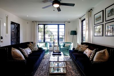 Living room was professionally interior decorated to match the historic nature of this well known and loved property.