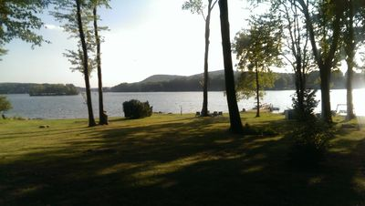 Photo for Level, direct lakefront, expansive western views, beach on Candlewood Lake