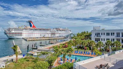You'll have a bird's eye view of the cruise ships docking...