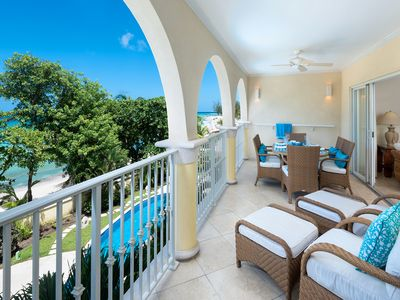 Photo for Modern Beachfront Condo with Pool - Sapphire Beach 205